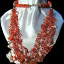 воздушка с кораллами и жемчугом